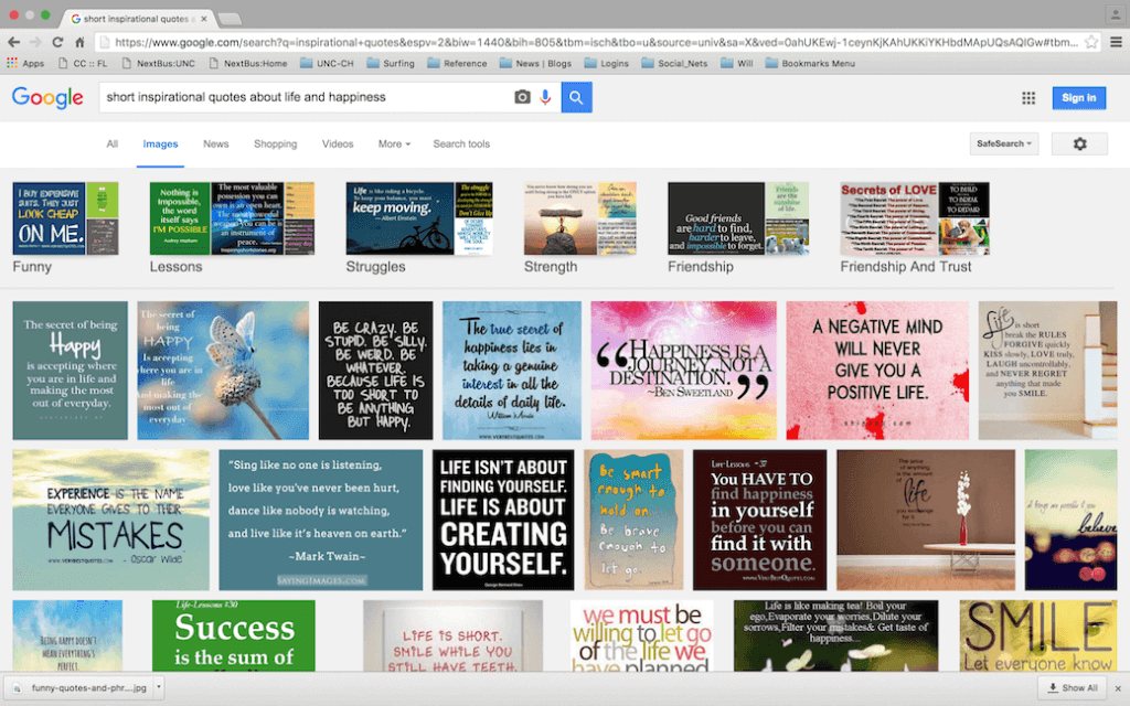 Example Search on Inspirational Quotes Life