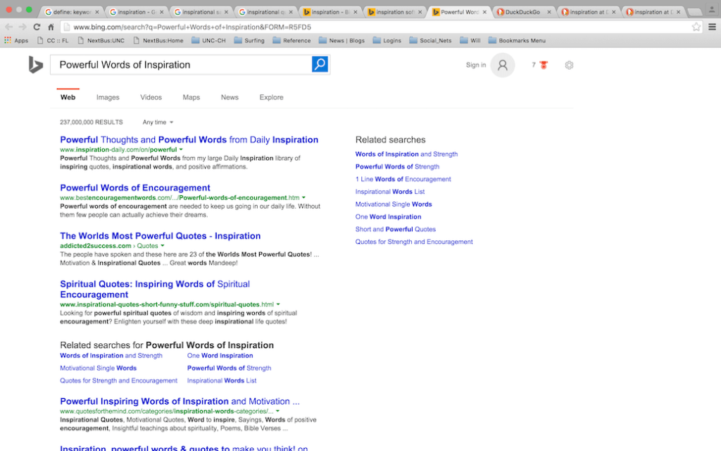keyword searching using related searches on Bing search engine