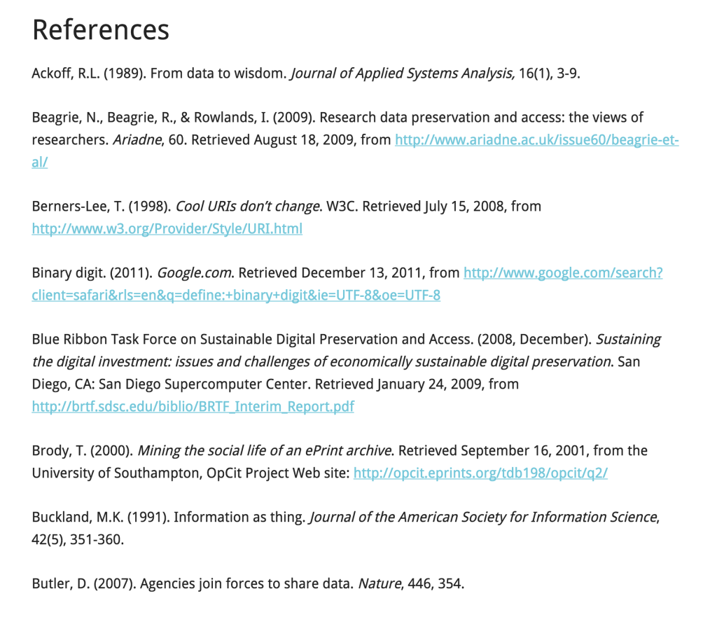 References example from this paper: Ward, J.H. (2012). Managing Data: the Emergence & Development of Digital Curation & Preservation Standards. Unpublished manuscript, University of North Carolina at Chapel Hill.