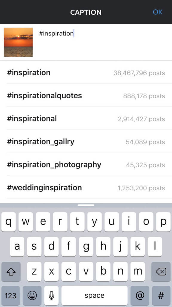 Keyword example for Inspiration using Instagram