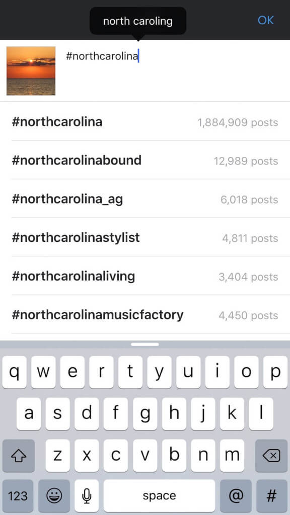 Keyword example for North Carolina using Instagram