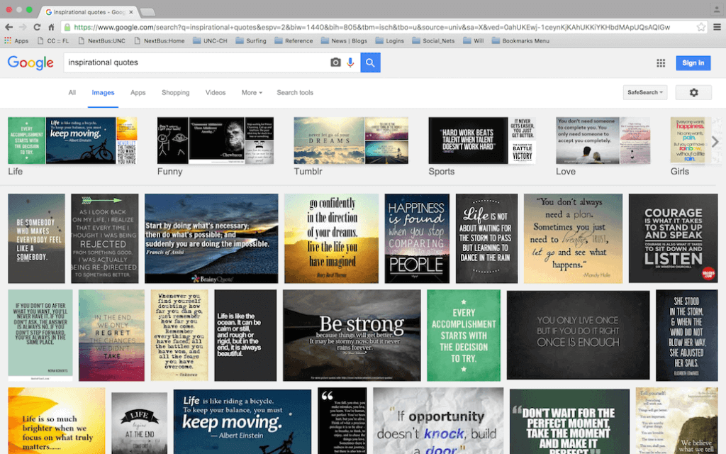 Example 2 - Google search related to inspirational quotes