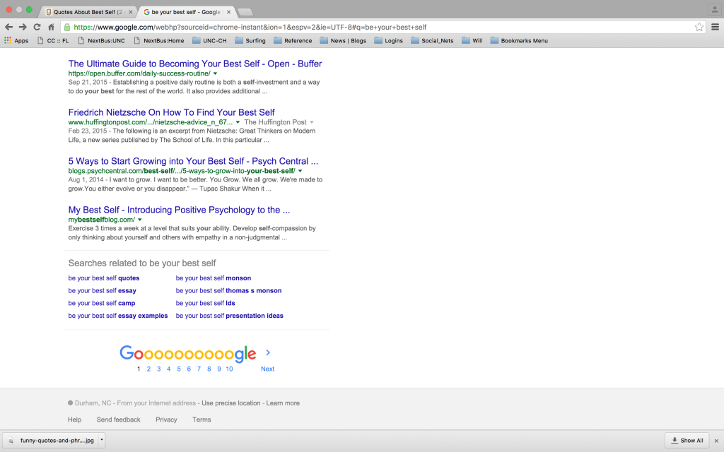 Example 2 - Google search related to best self