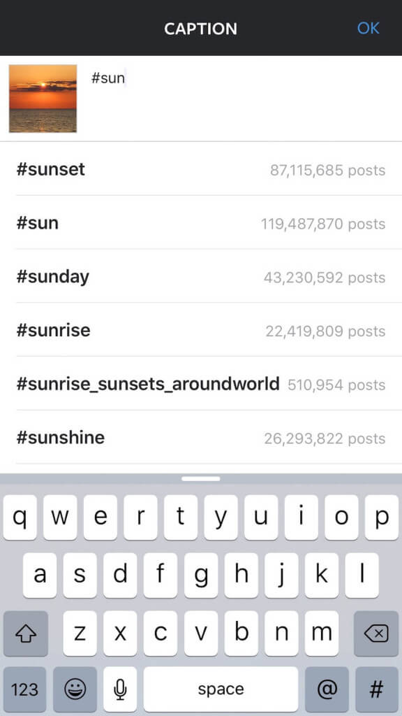 Keyword example for Sun using Instagram