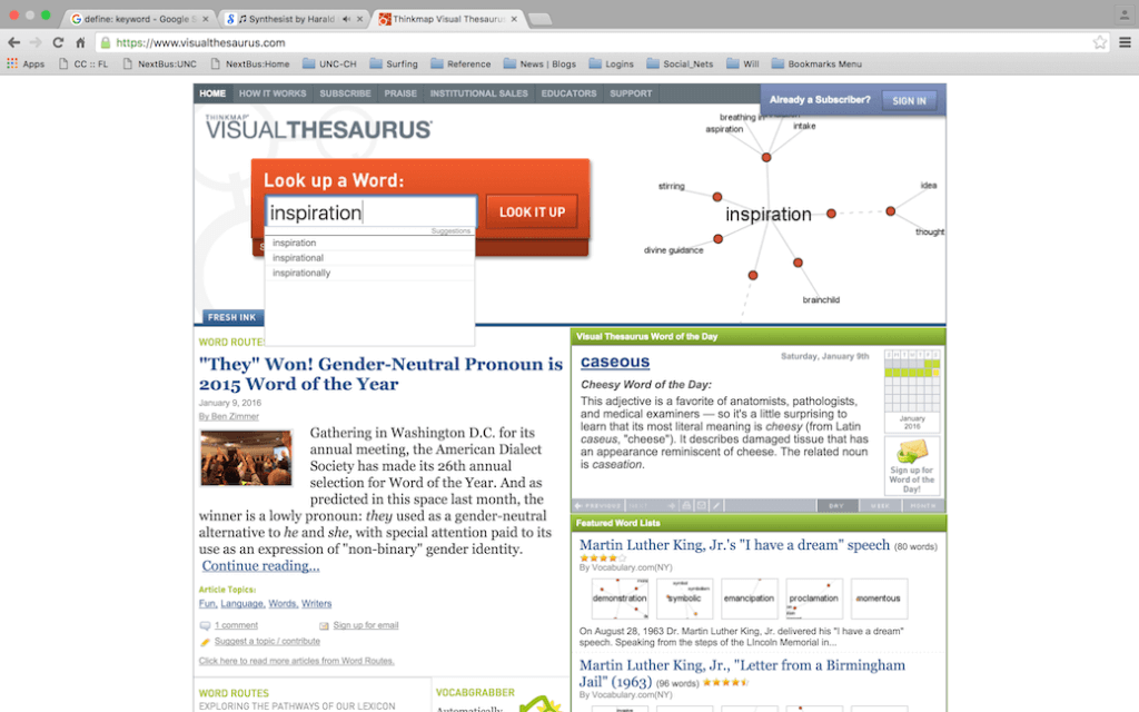 example keyword lookup using visual thesaurus