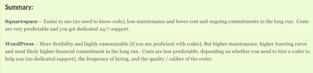Website Builder Expert: WordPress versus SquareSpace, Summary